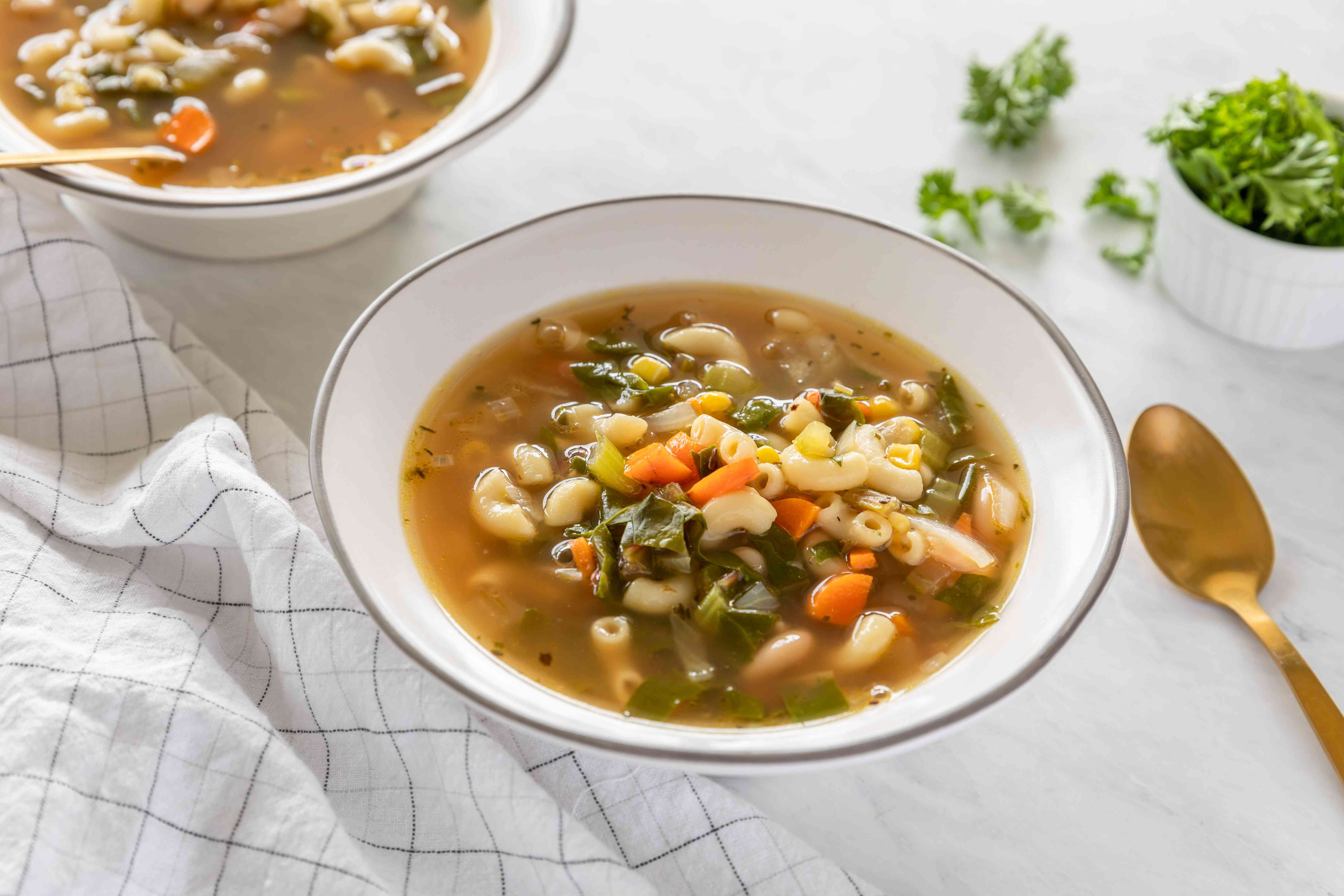 Cannellini white bean soup with Swiss chard