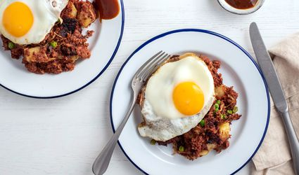British Corned Beef Hash recipe, on a white plate