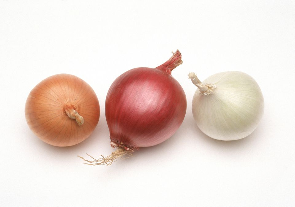 3 onion varieties on white background