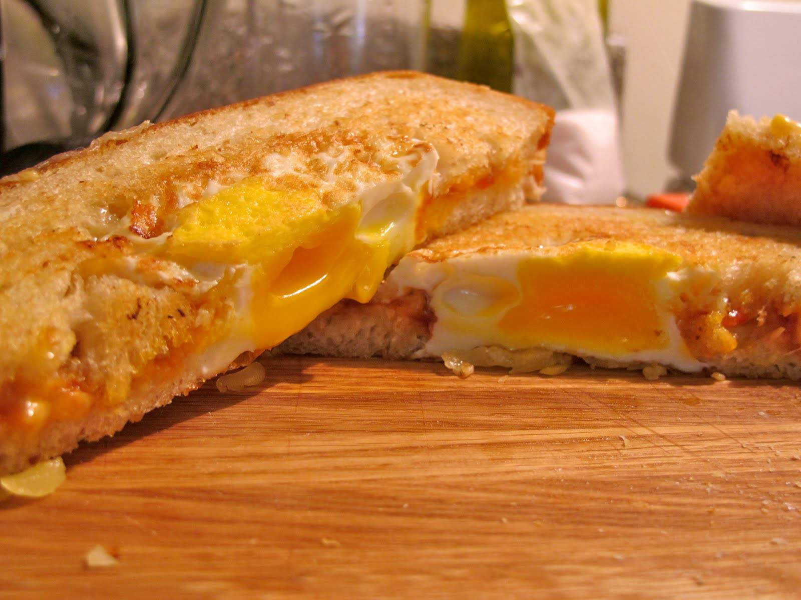 Tomato Chutney, Fried Egg, and Gruyere Grilled Cheese
