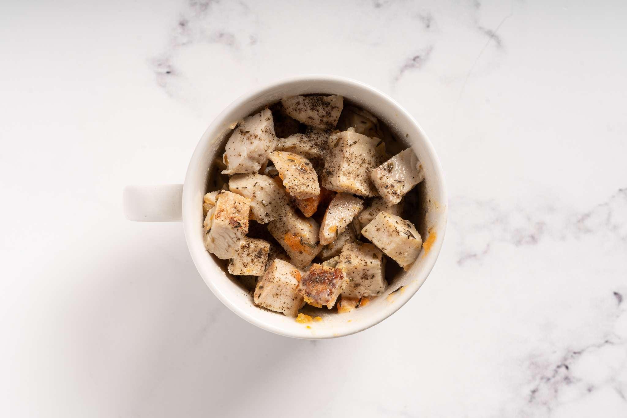 Chicken Pot Pie filling in a Mug