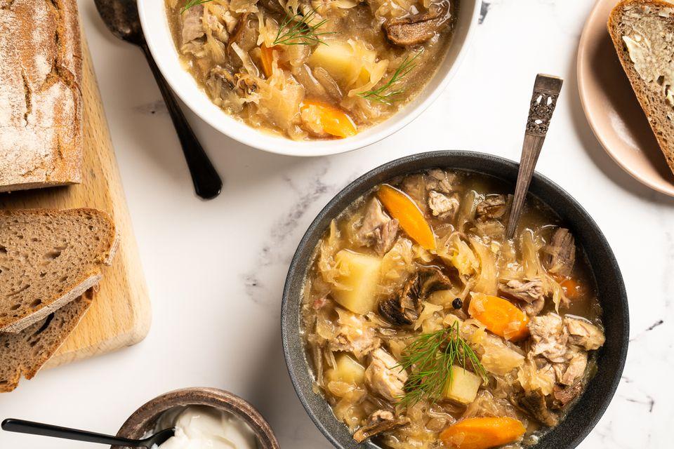 Ukrainian Sauerkraut Soup (Kapusnyak)