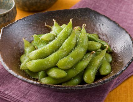 Edamame soy beans with a dusting of sea salt