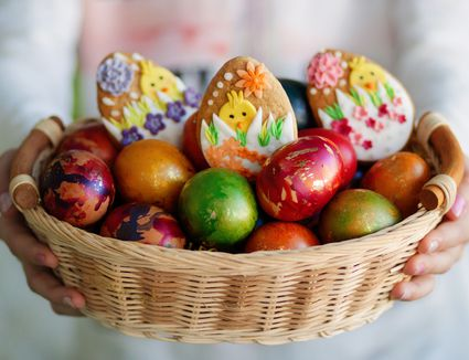 Bulgarian Easter eggs in a basket