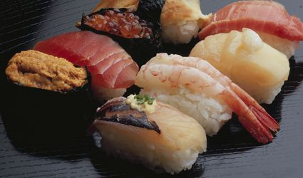 An assortment of the various types of nigiri sushi