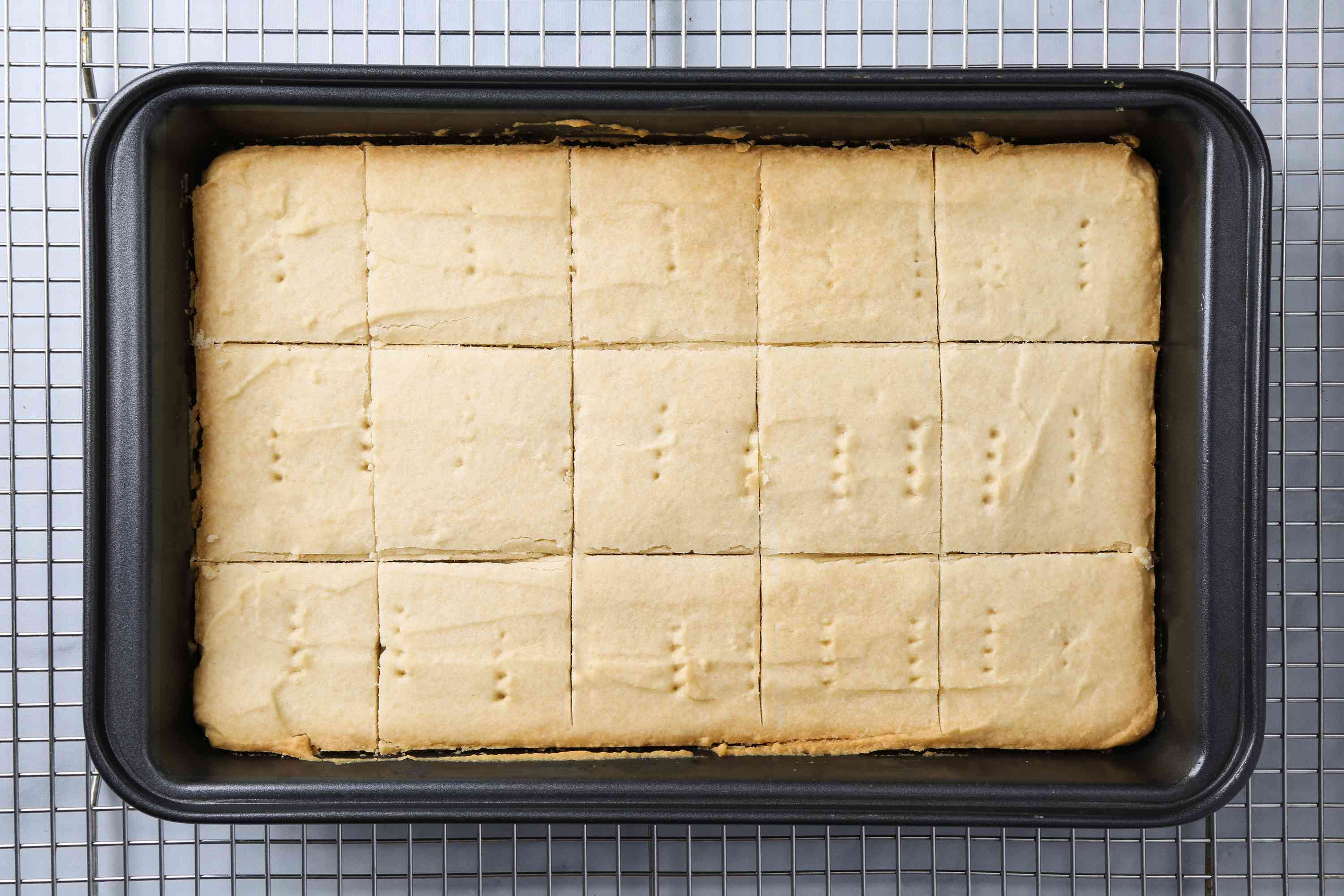 Dairy-Free Shortbread Cookies in a baking dish on a cooling rack