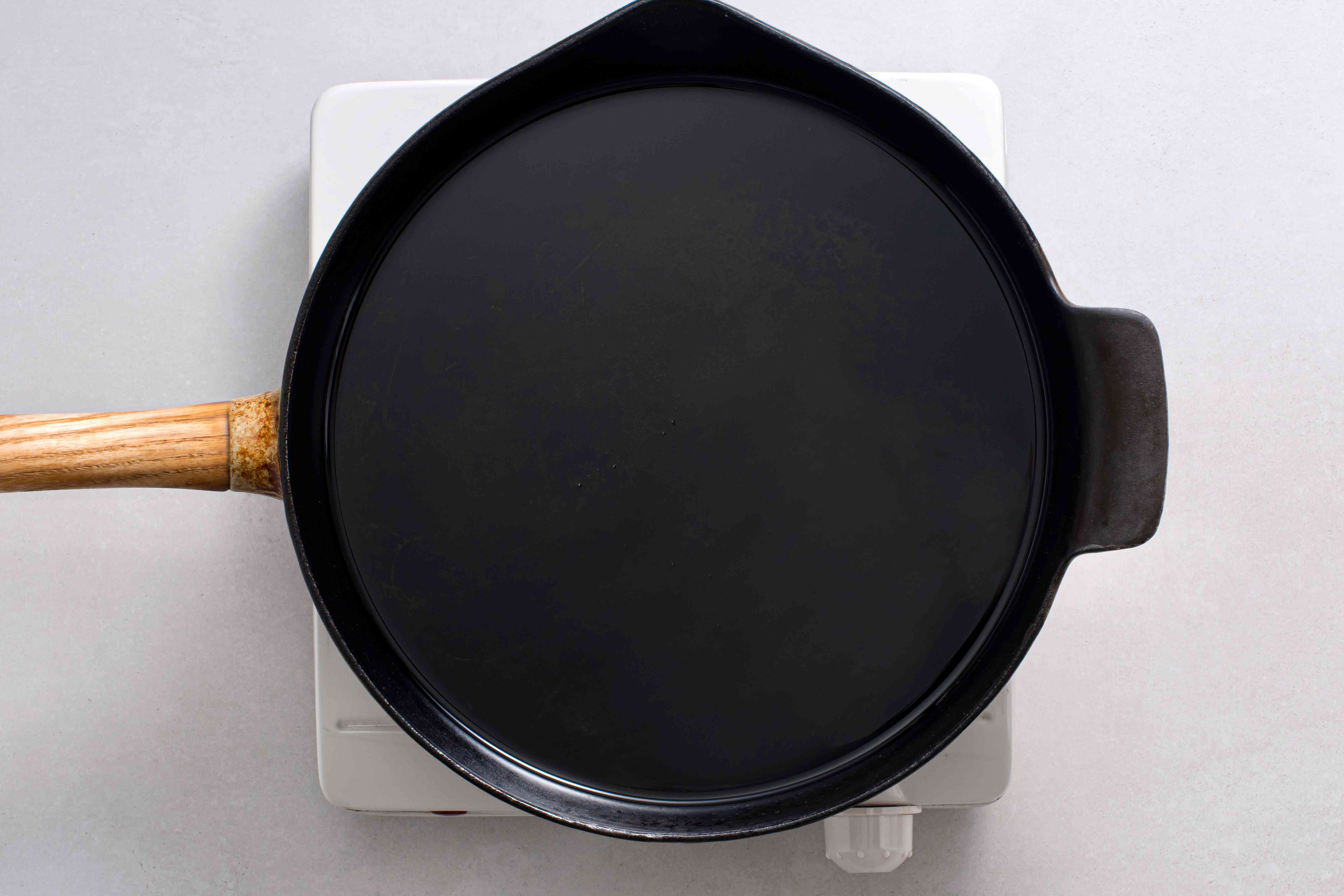 oil in a cast iron skillet