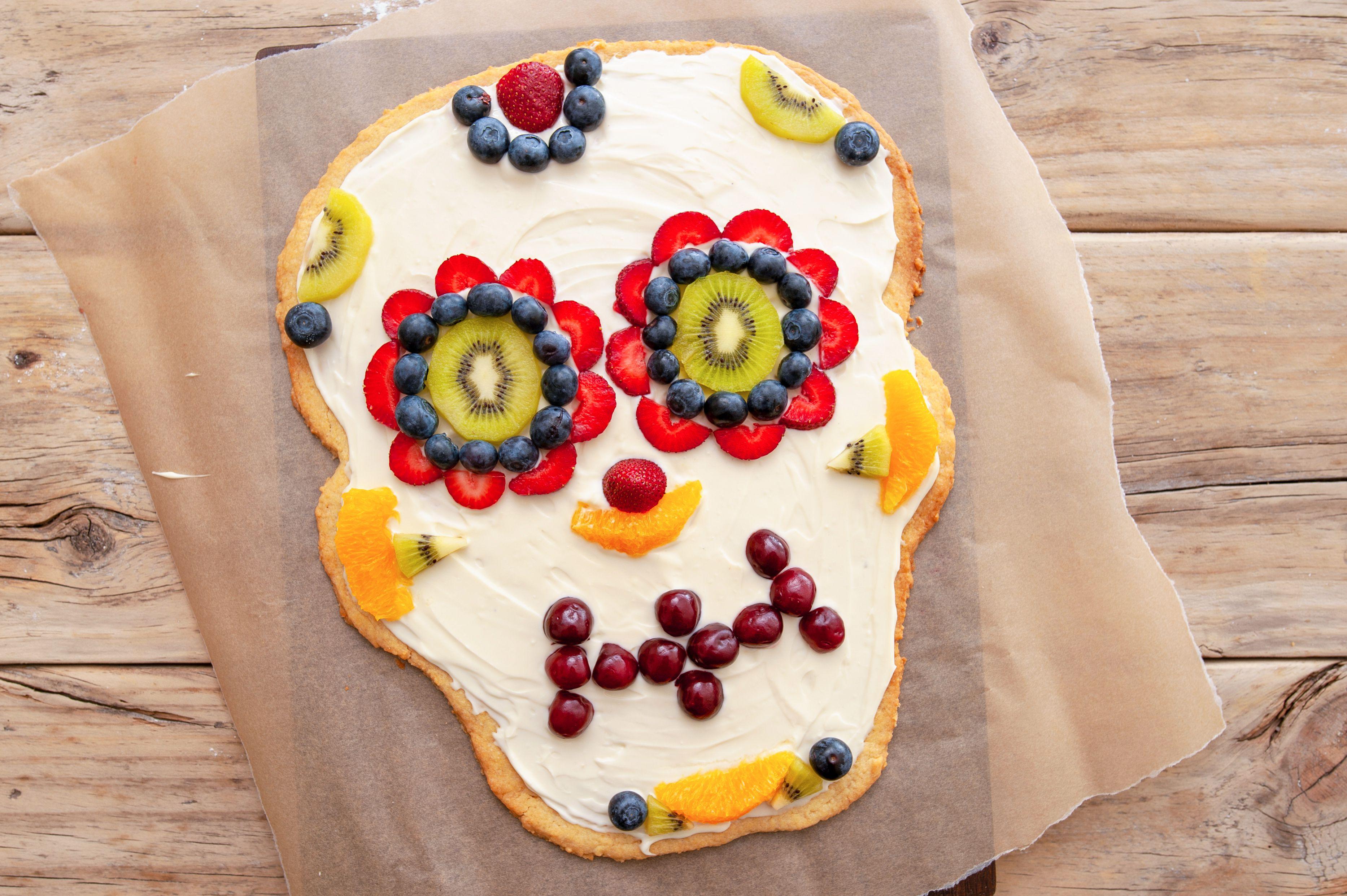 Sugar skull dessert pizza
