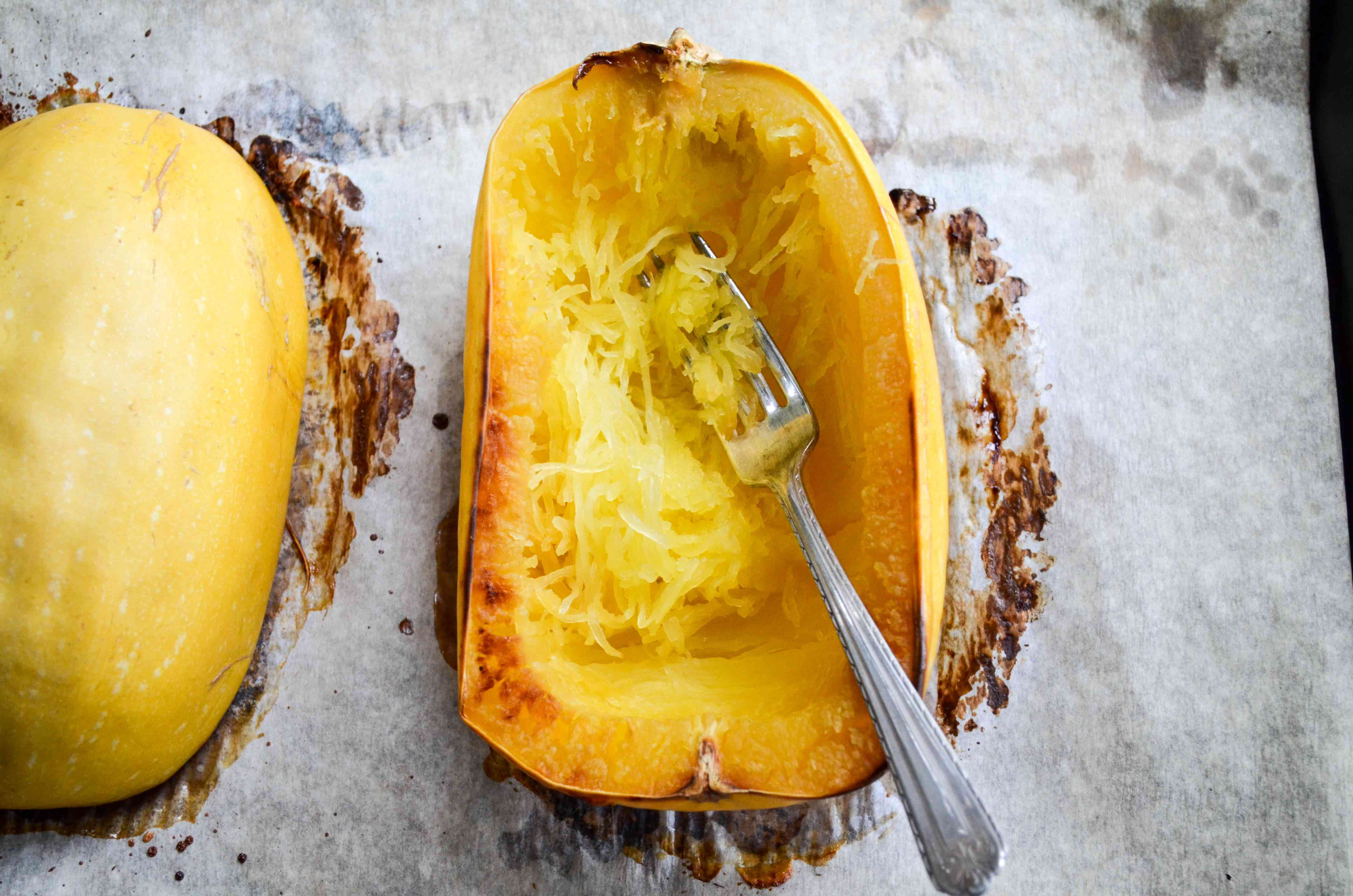 Use fork to remove strands from spaghetti squash