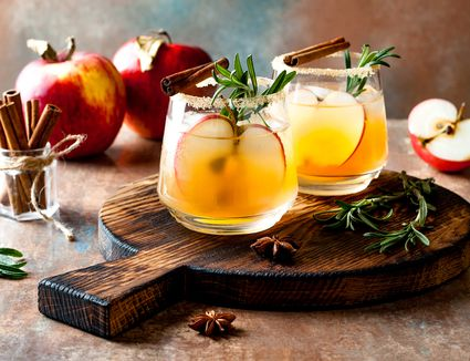 Smoky apple cider margarita fall cocktail