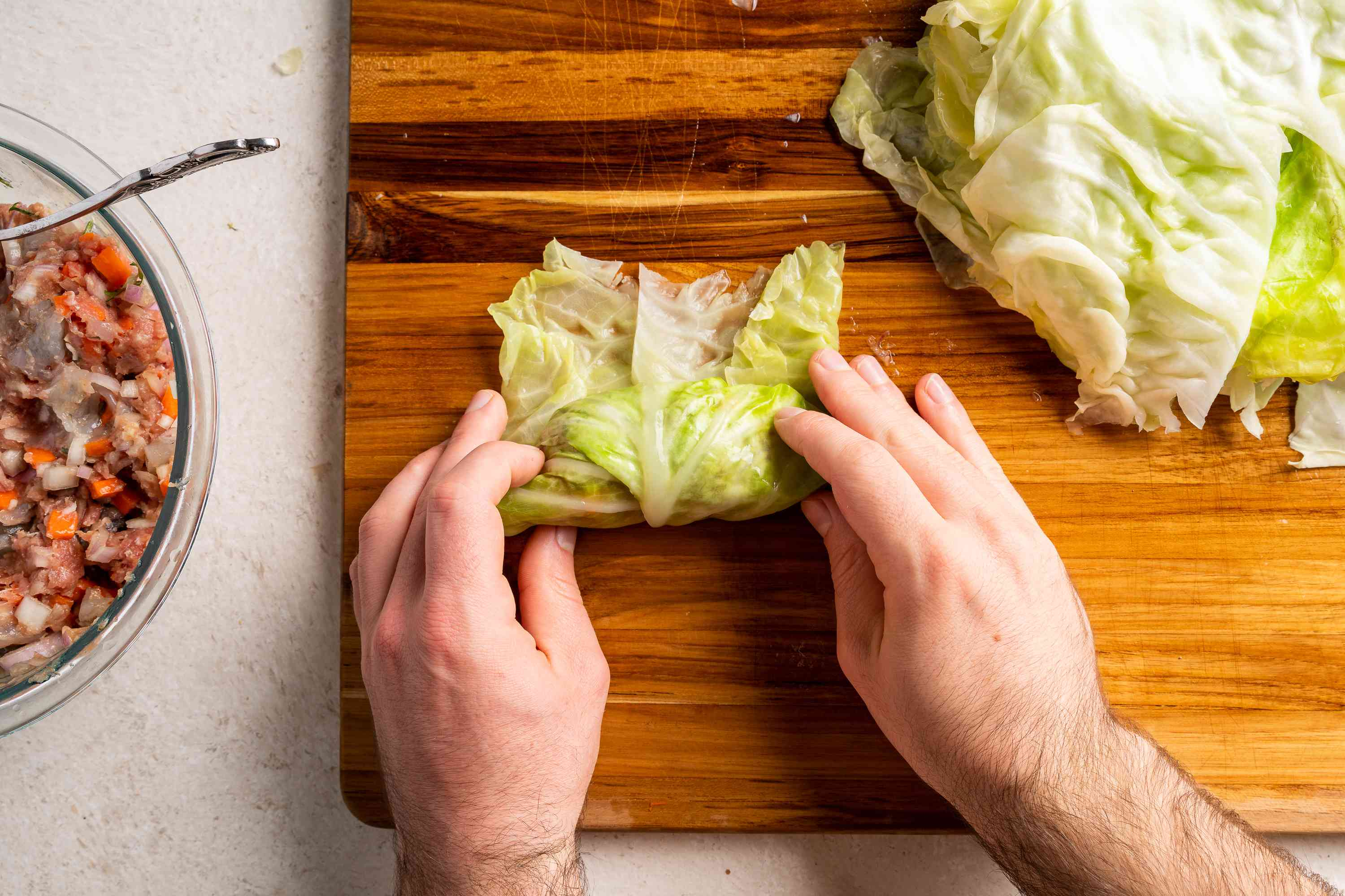 fold over the cabbage roll