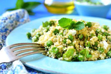 Quinoa salad with green peas, feta, and mint