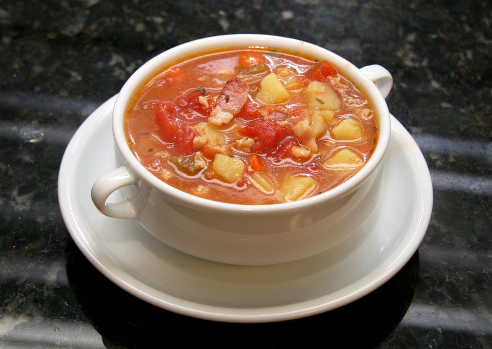 Manhattan Style Clam Chowder in bowl