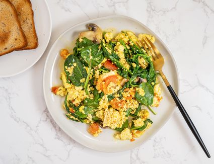 Vegan Tofu Scramble With Spinach