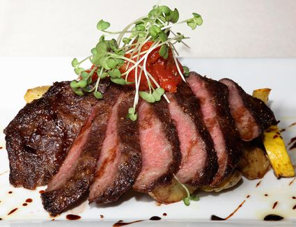 Spiced flat iron steak with roasted Yokon Gold potatoes