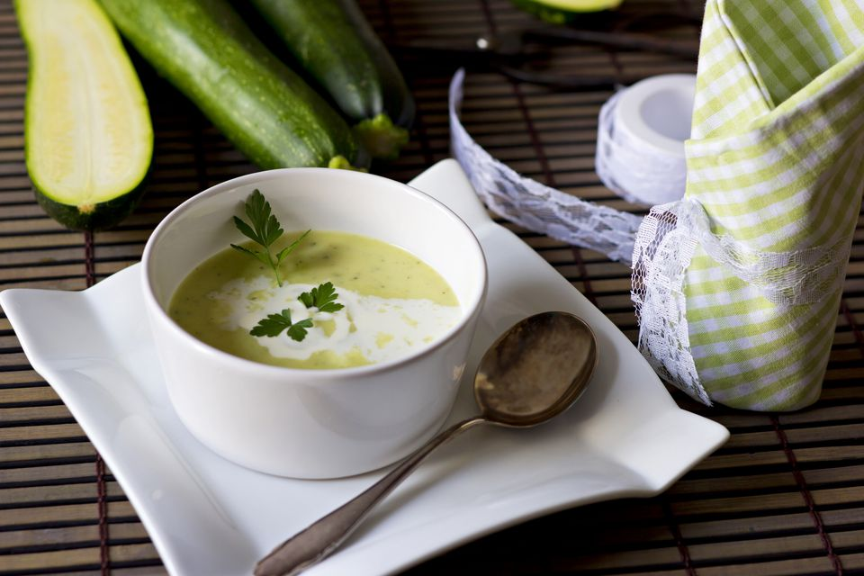 Bowl of zucchini soup
