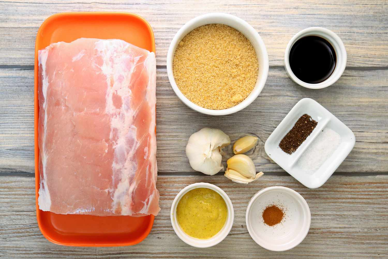 Gather the ingredients for the brown sugar pork loin