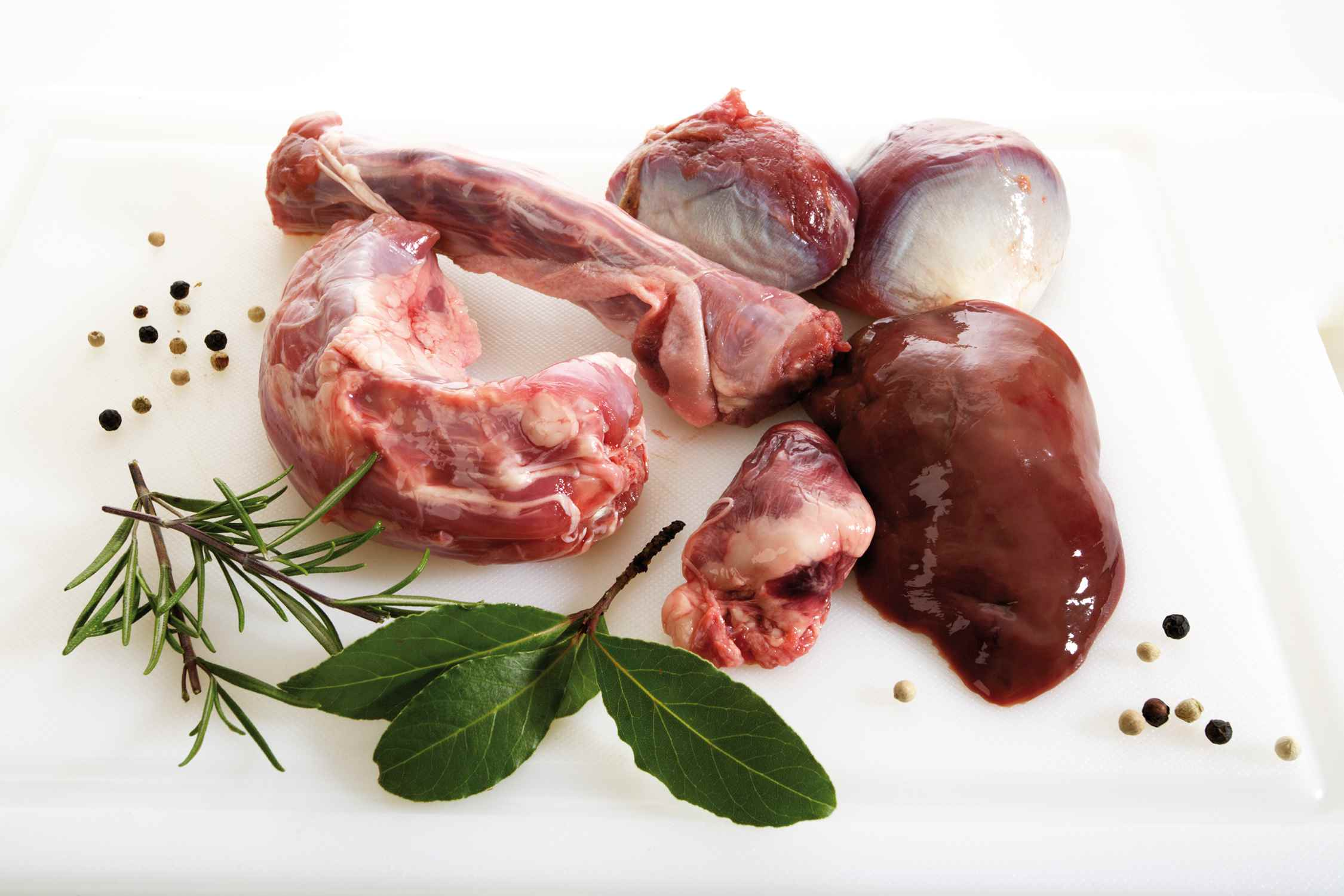 Fowl's neck. gizzard, liver, and heart