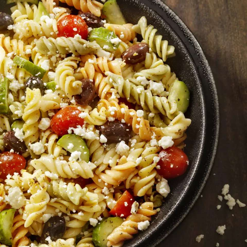 White Bean Pasta With Olives and Feta Cheese