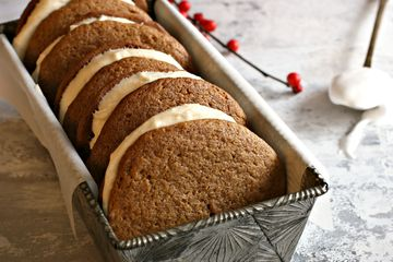 Gingerbread whoopie pies with tahini cream filling in a decorative loaf pan