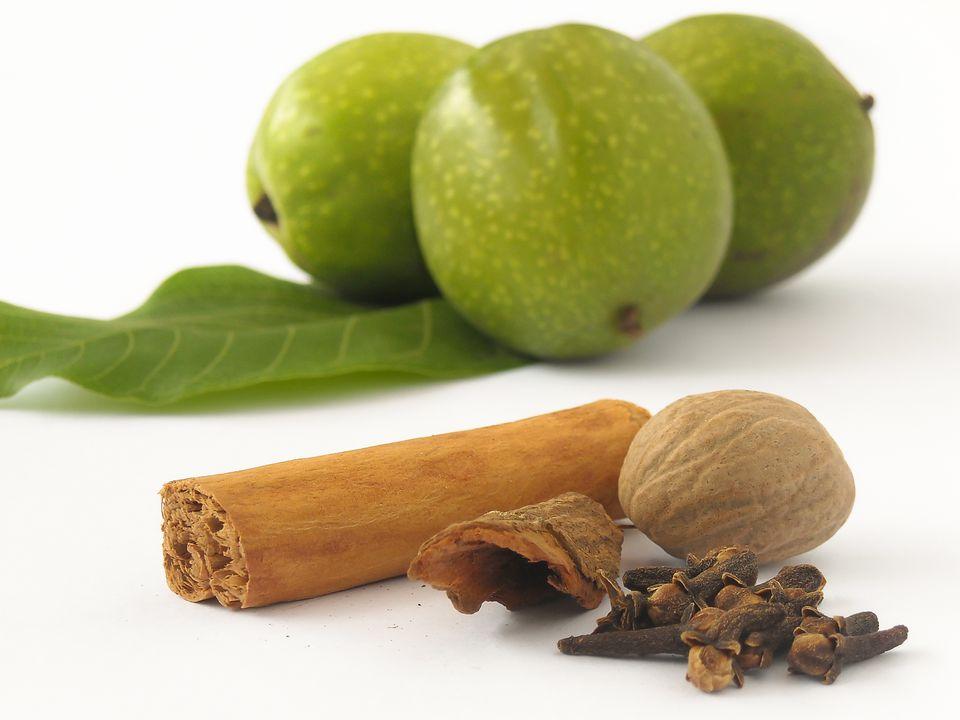 Ingredients for making nocino