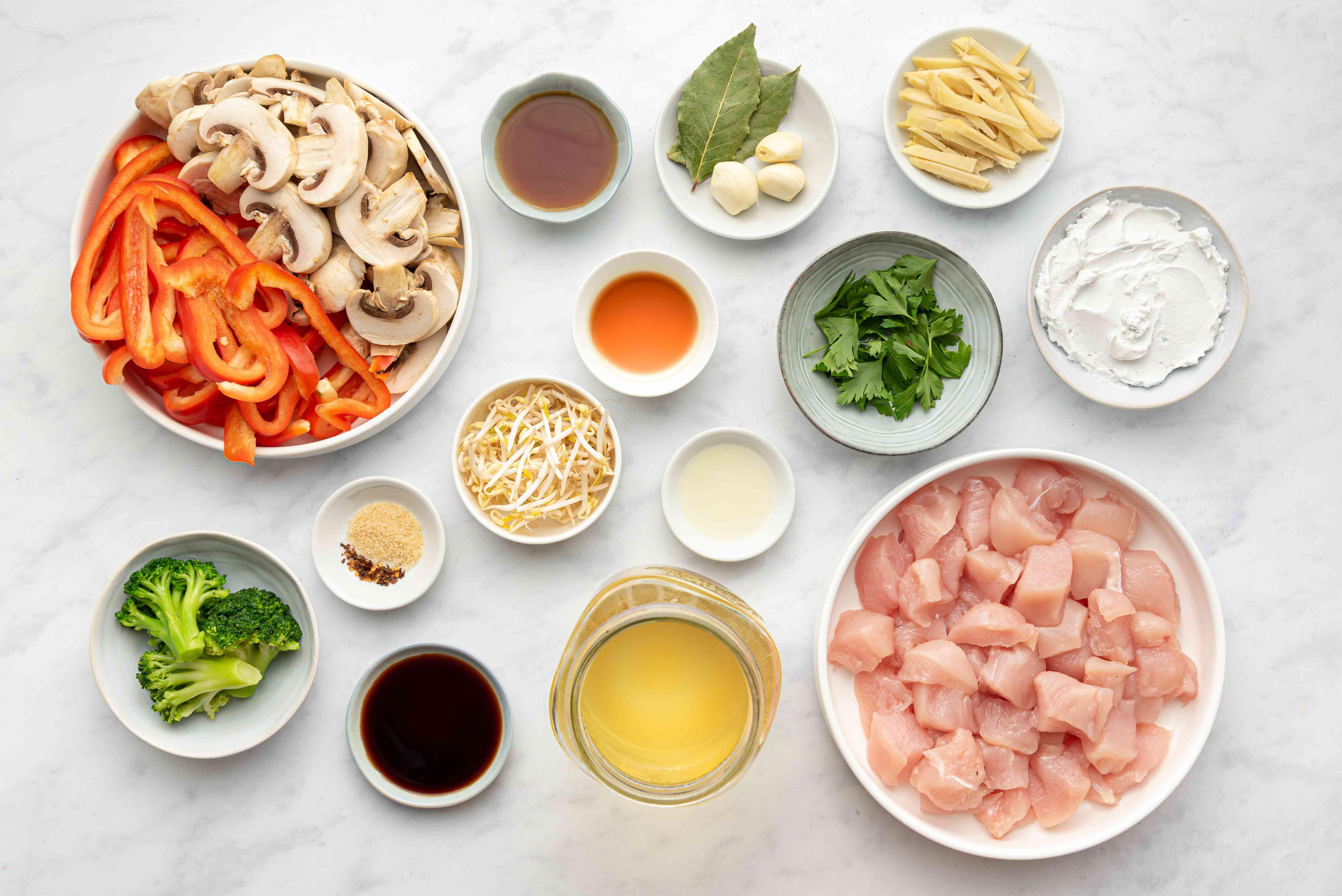 Homemade Thai Chicken Soup ingredients