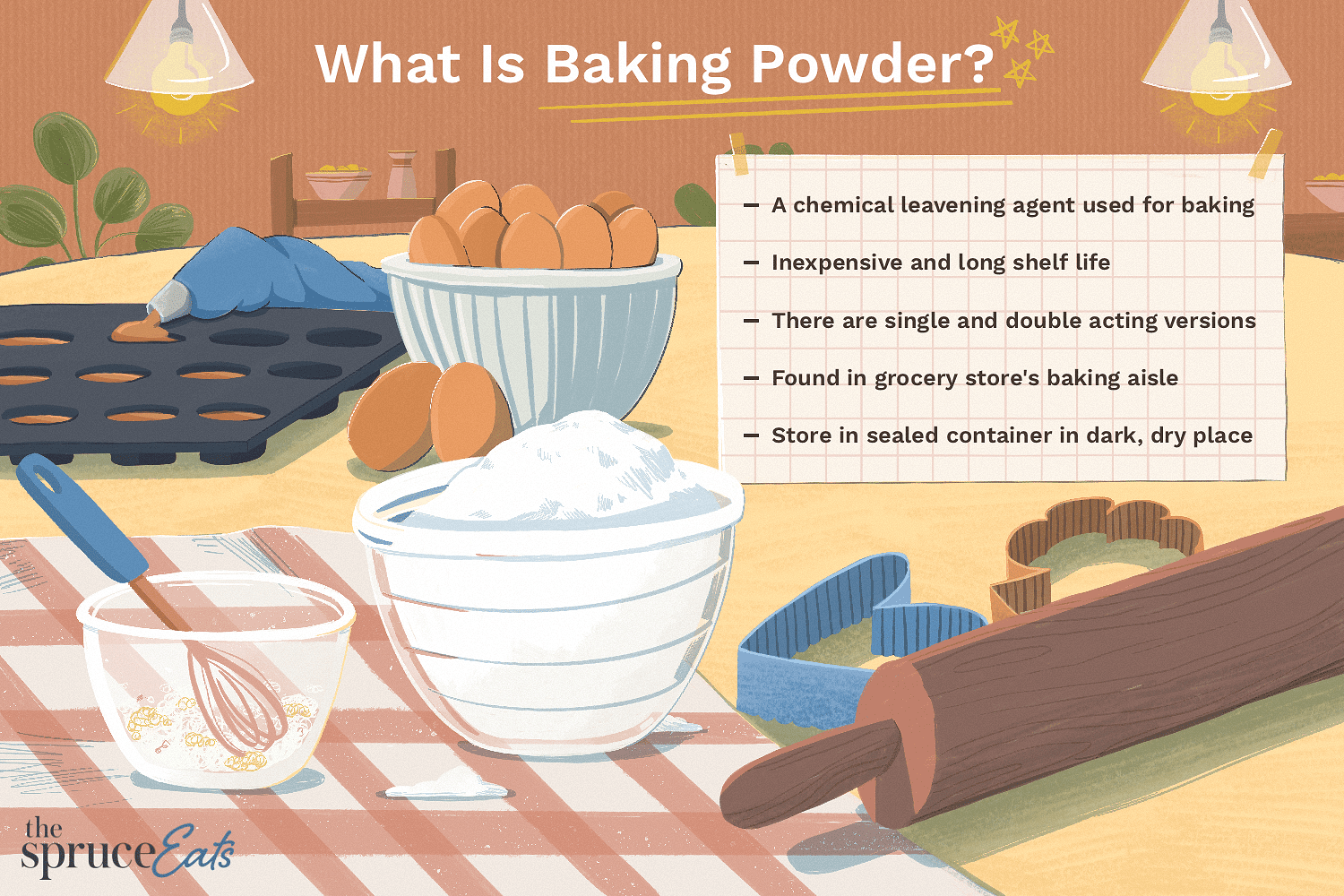 illustration showing facts about baking powder