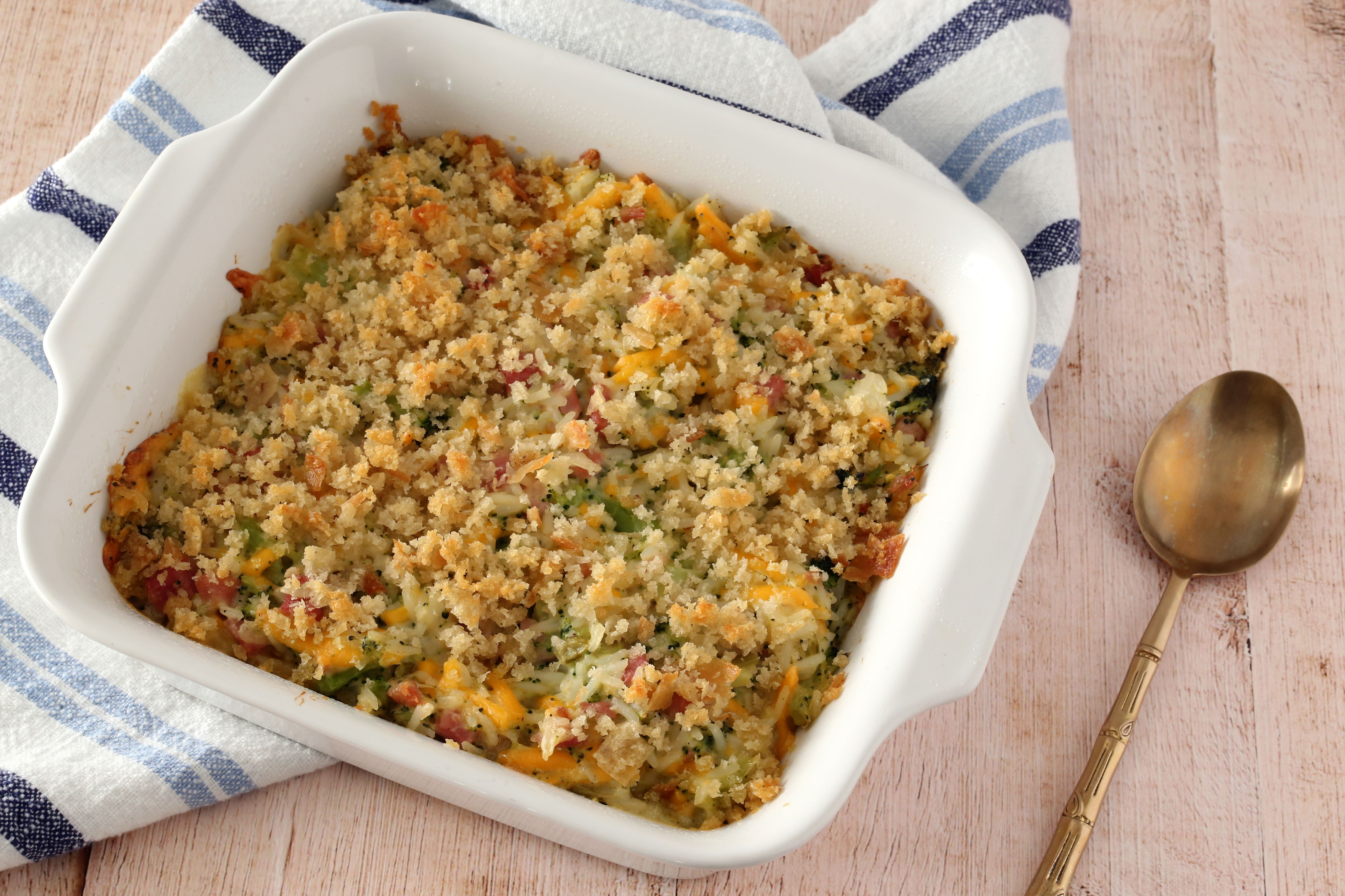Broccoli, rice, and ham casserole from the oven.