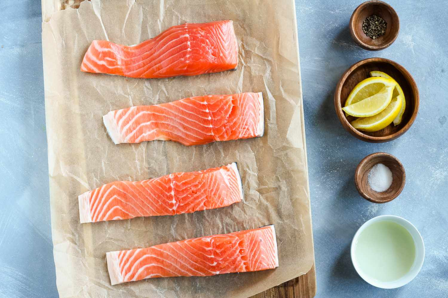Ingredients for grilled salmon