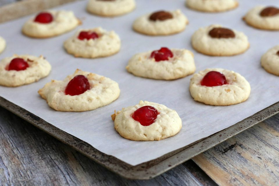Cream cheese coconut cookies with candied cherries