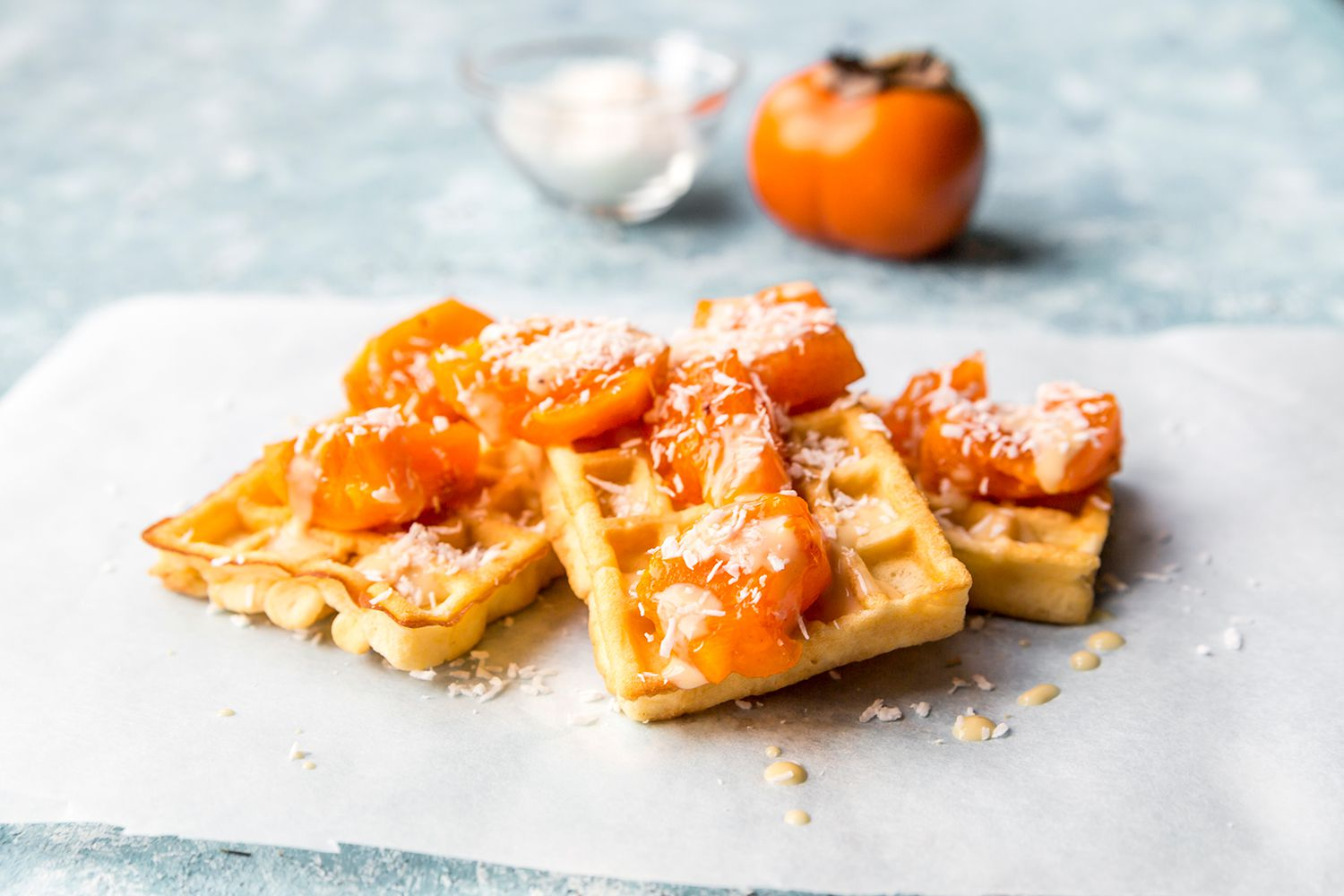 waffels with persimon and cocos