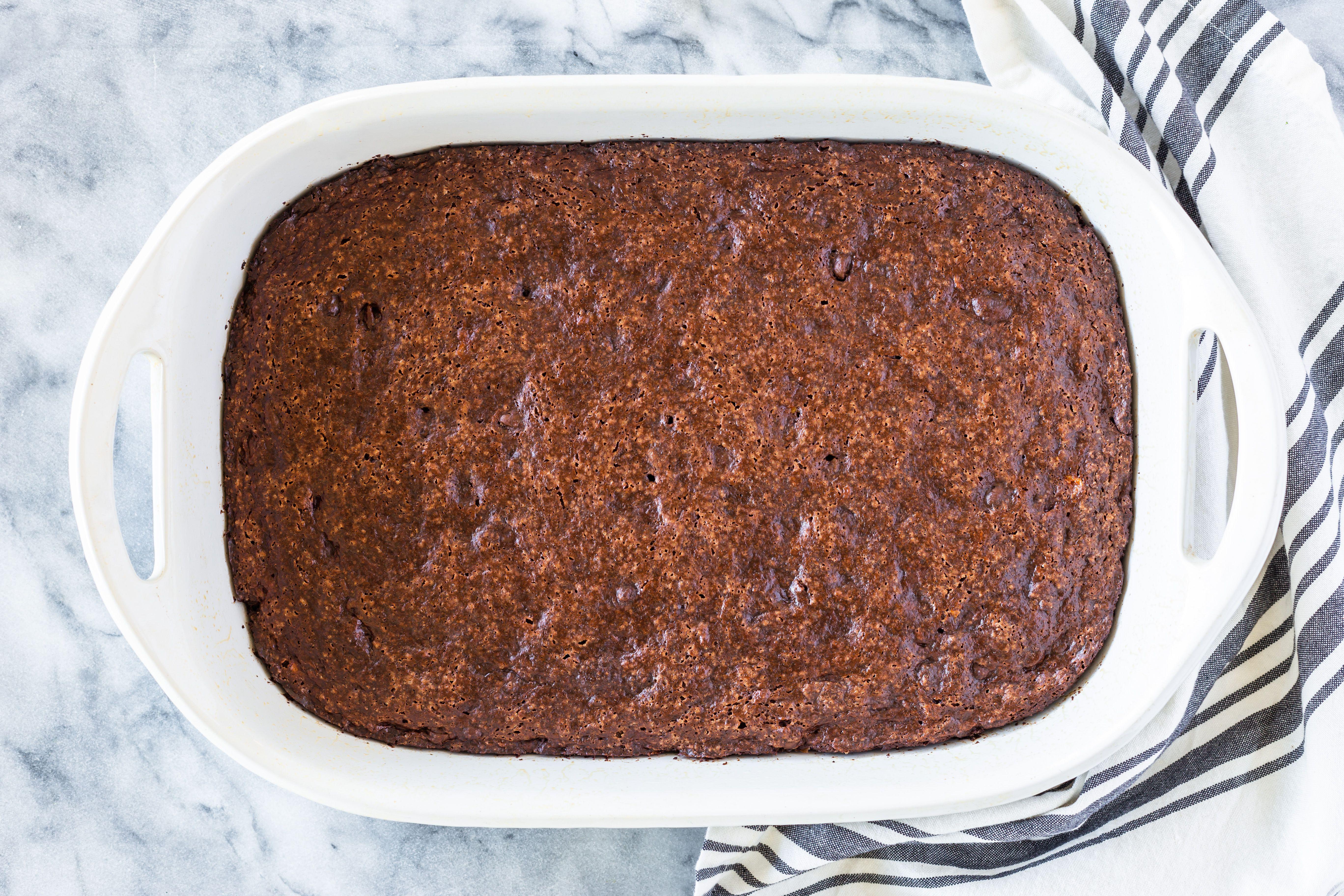 Bake brownies in oven