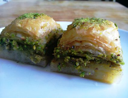 Baklava made with pistachio nuts is the most popular kind of baklava in Turkish cuisine.