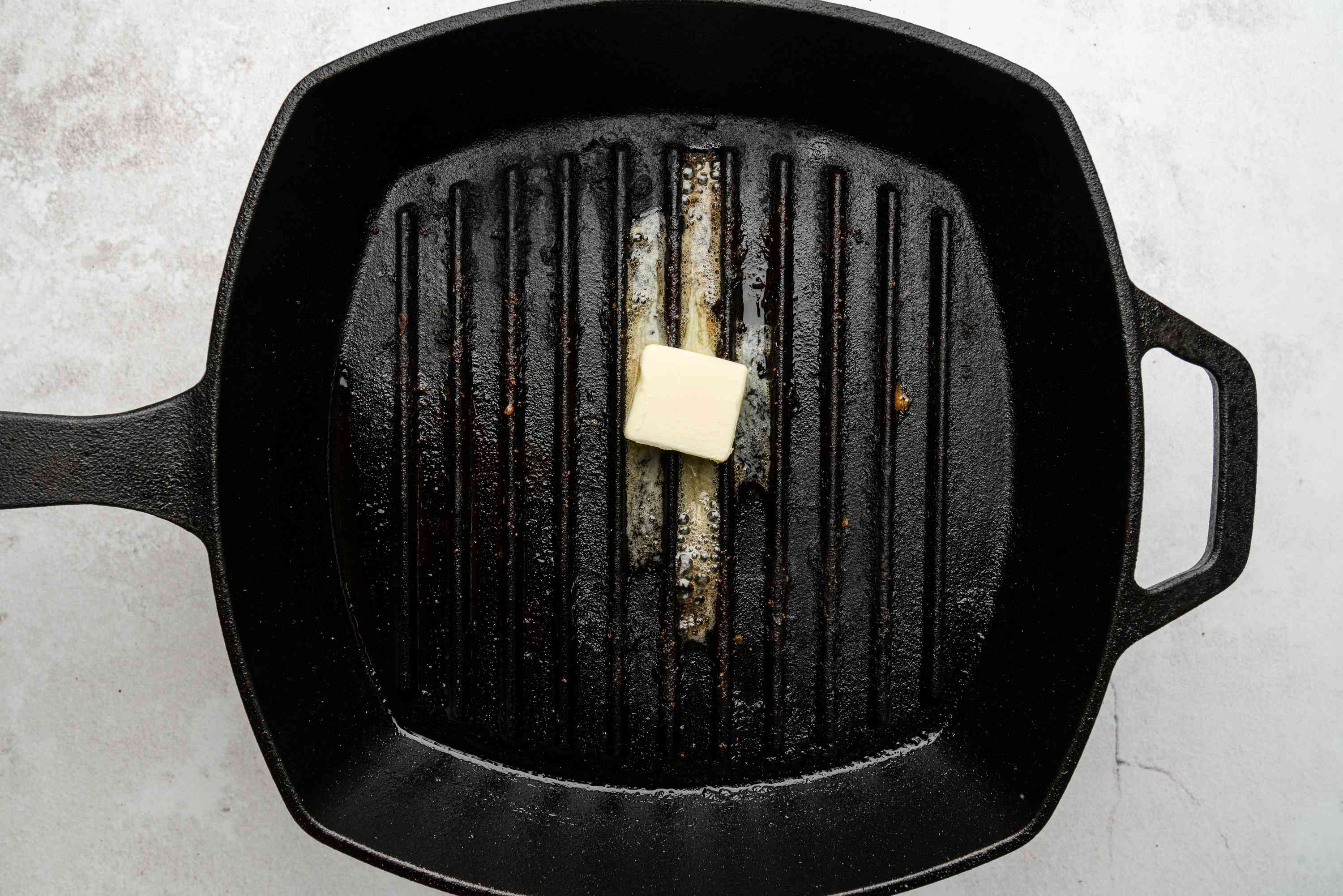 butter in a grill pan