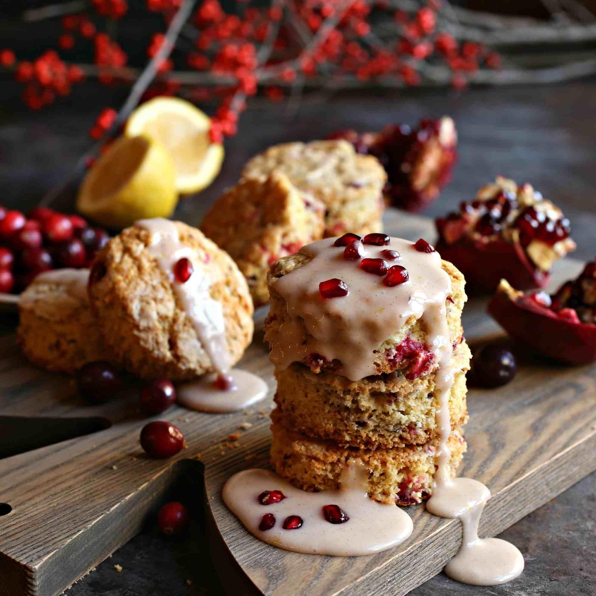 Cranberry Scones with Pomegranate Glaze