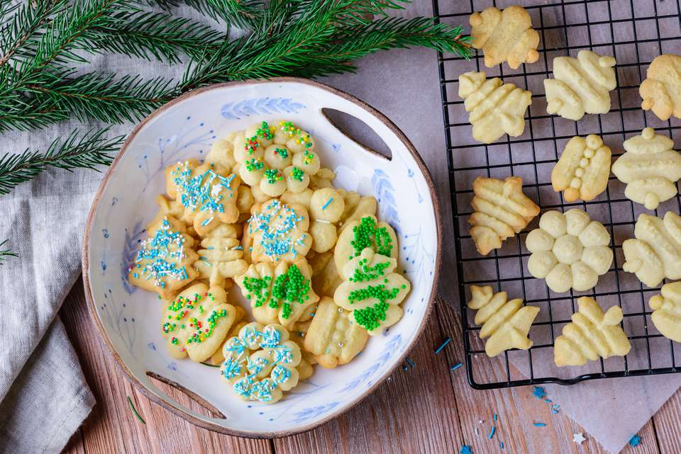 Galletas de mantequilla de prensa de galletas