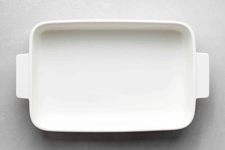 greased casserole dish