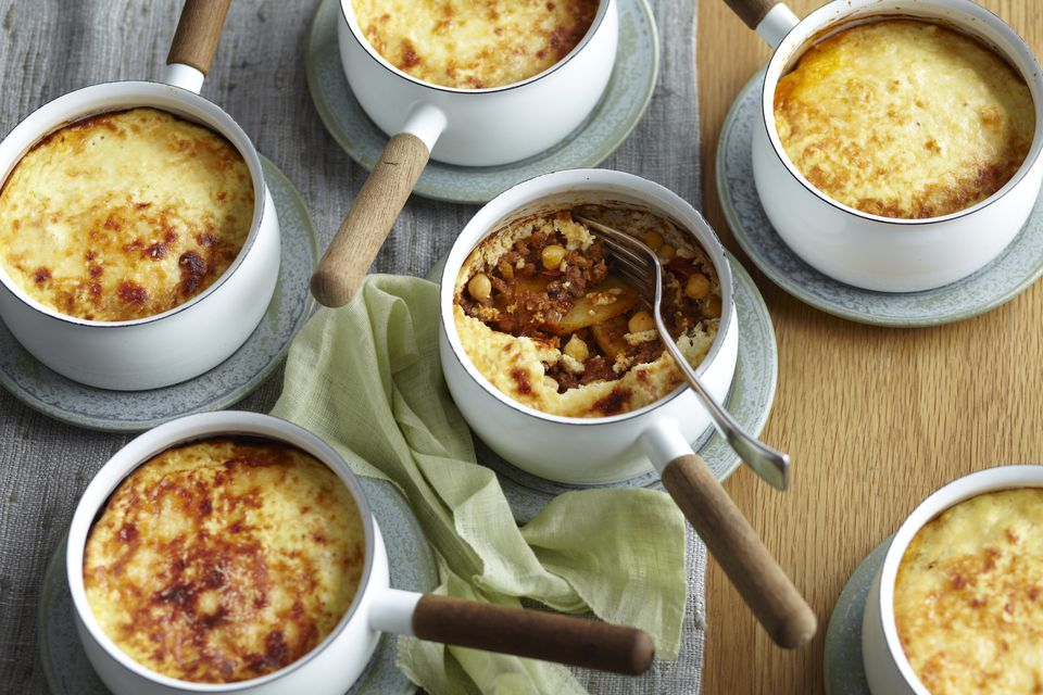 Potato lamb moussaka in individual saucepans