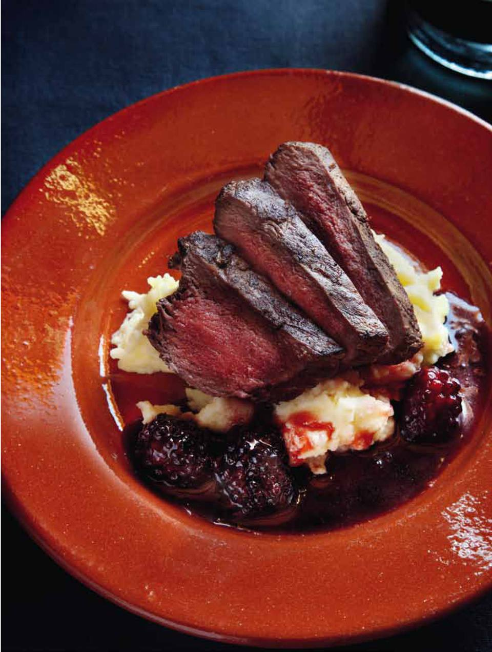Ostrich Fillet with Mashed Potatoes and Blackberry Sauce