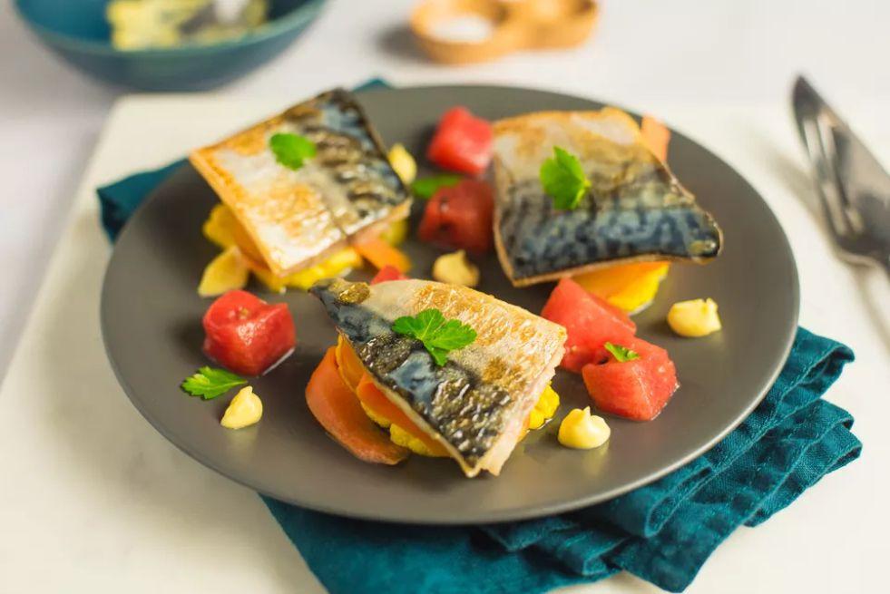 North Sea Mackerel With Pickles, Watermelon, and Wasabi Mayo