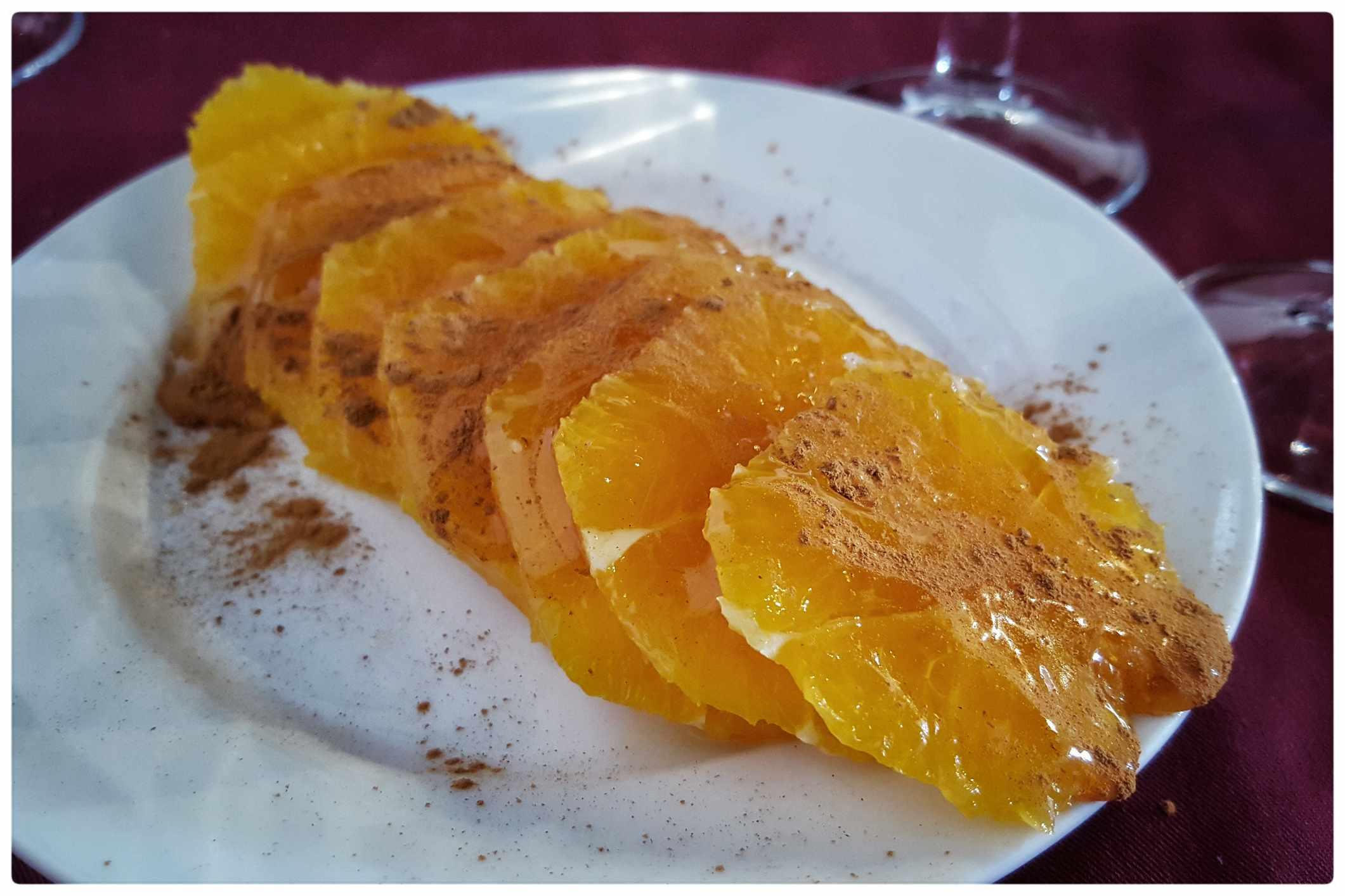 Greek oranges with honey and cinnamon