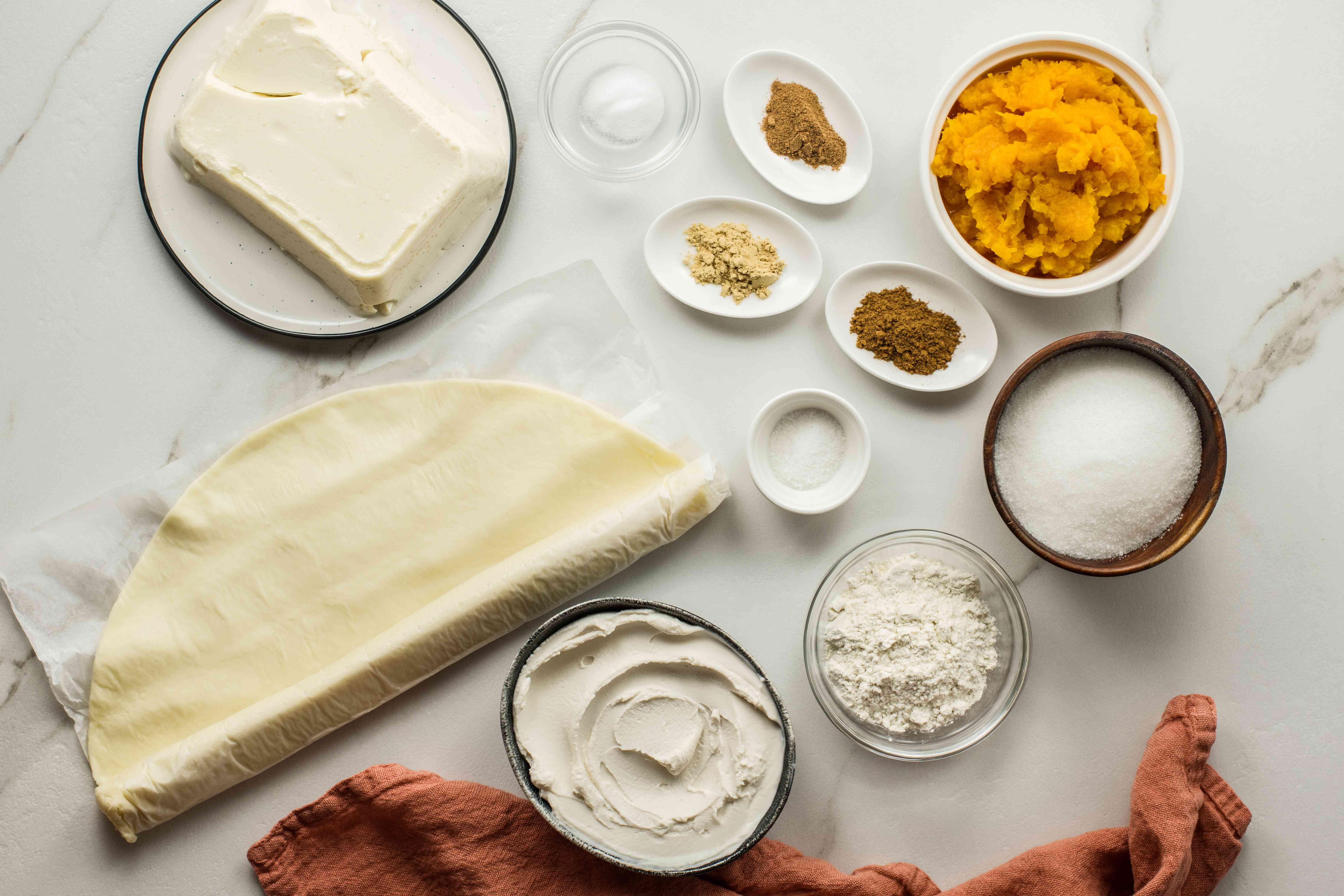 Ingredients for vegan pumpkin cheesecake
