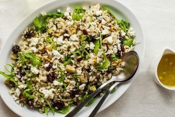 Vegan barley, wild rice cranberry pilaf