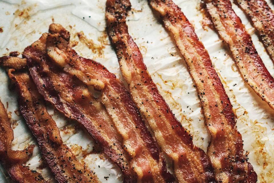 Bacon on baking sheet