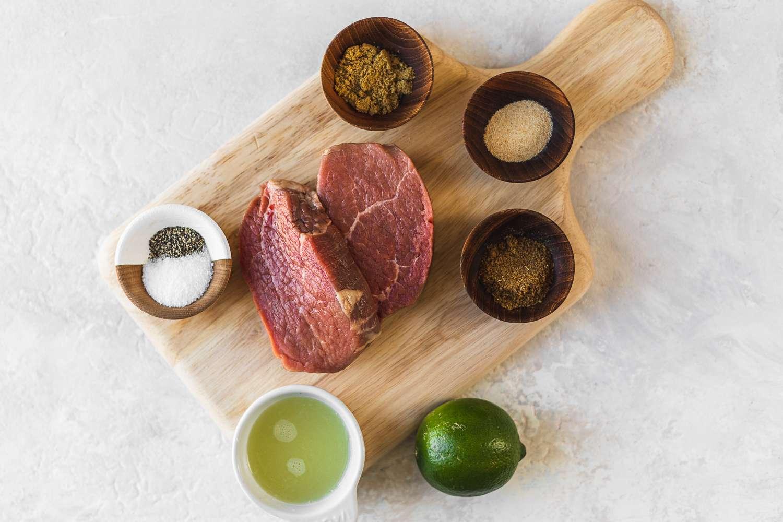 Ingredients for marinated eye of round steak