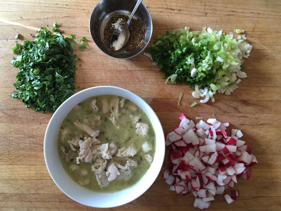 Green Pozole with Chicken & Tomatillo