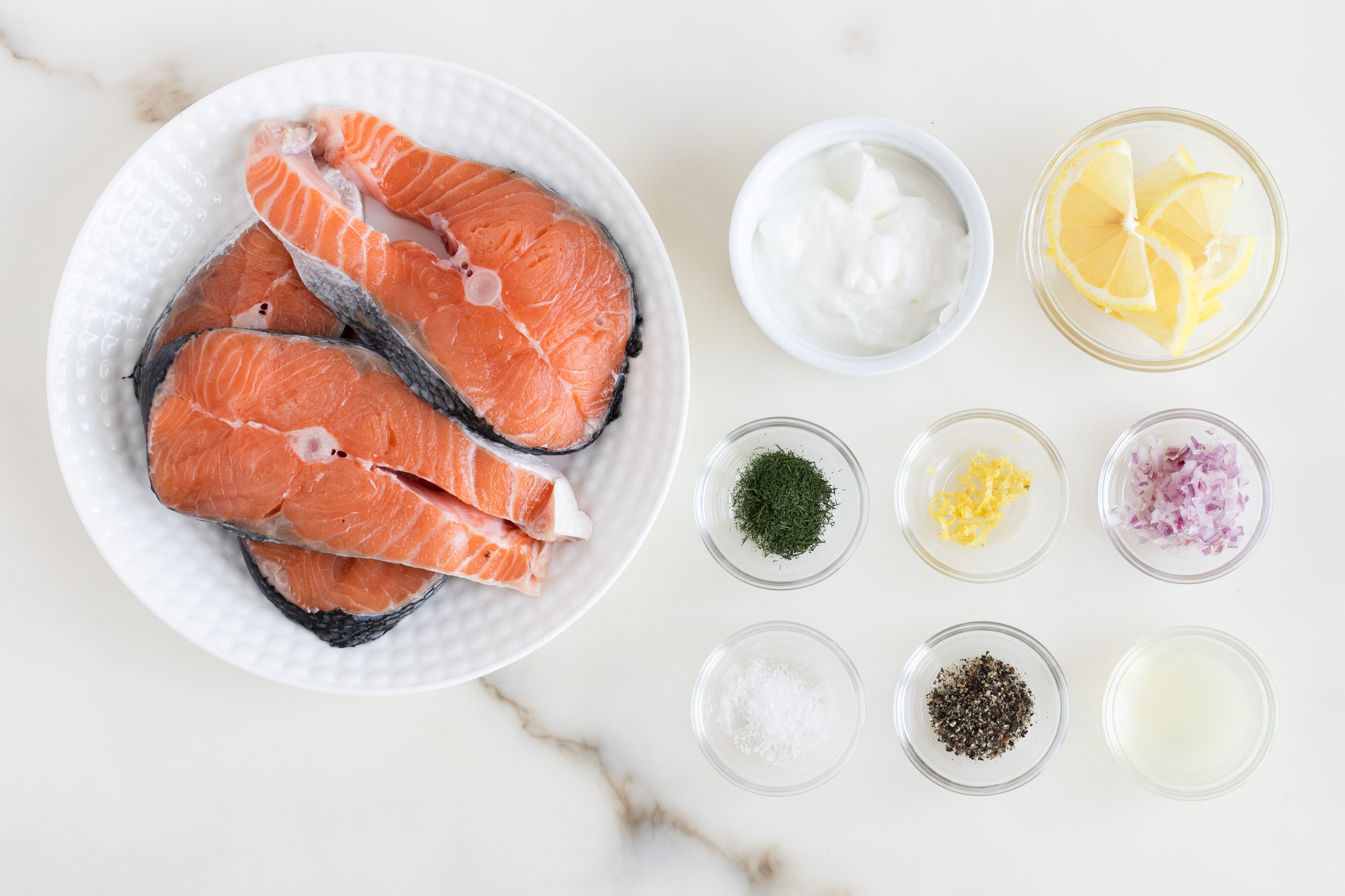 Ingredients for salmon steaks