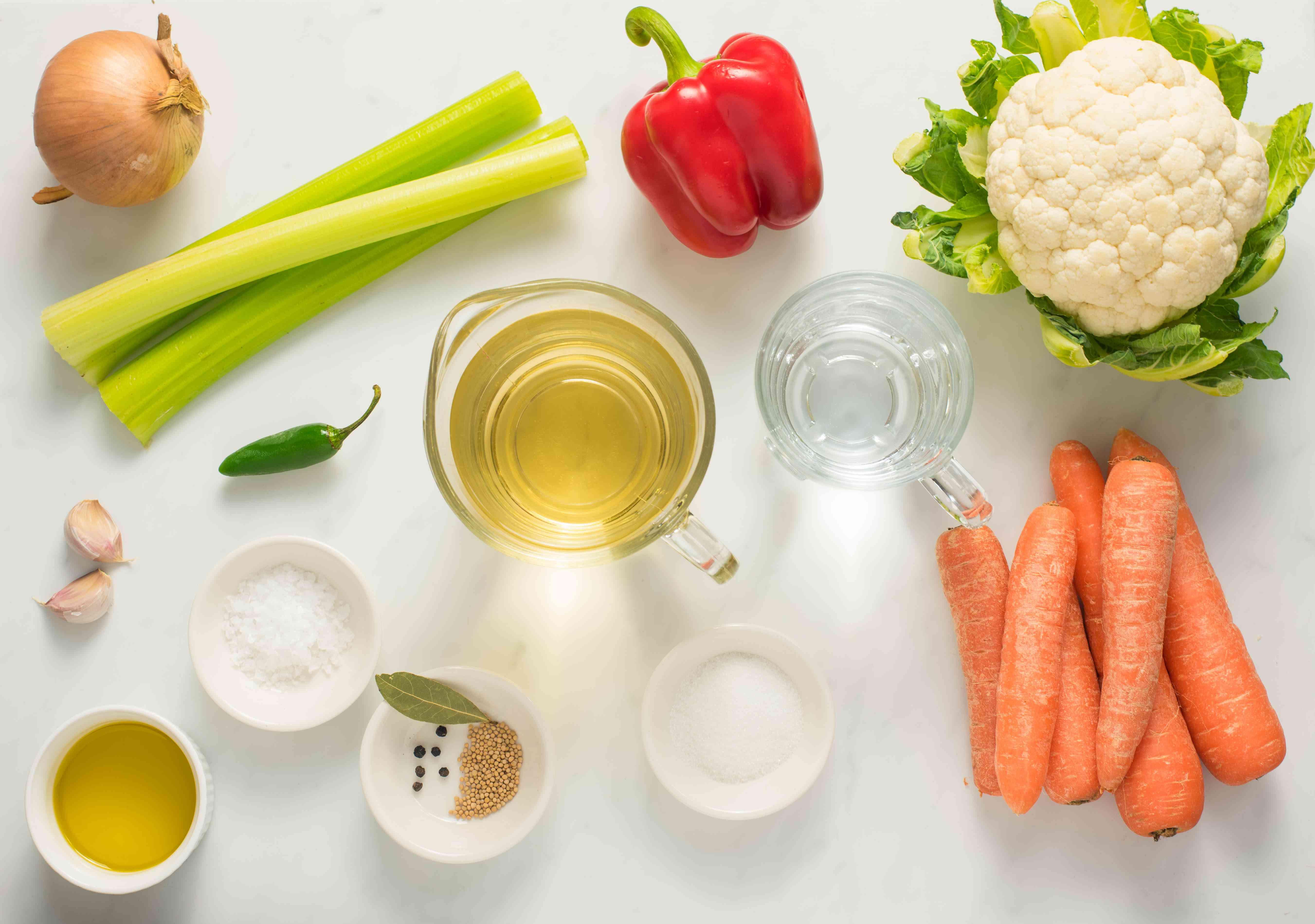 Ingredients for pickled antipasto vegetables