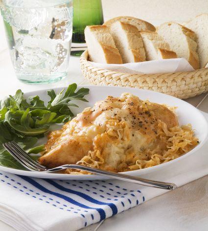 Ruben Style Baked Chicken with Arugula;