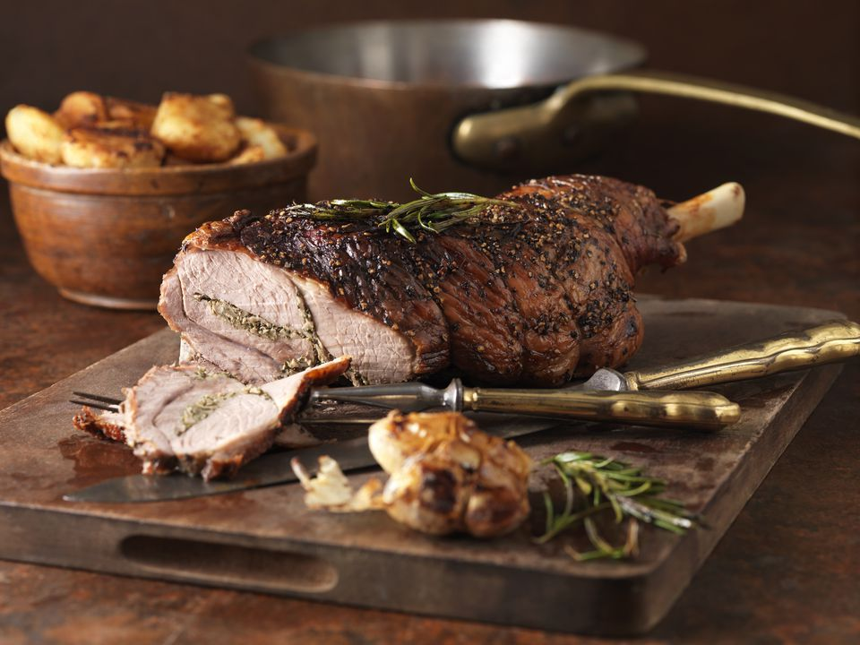 rosemary and garlic leg of lamb and roast potatoes